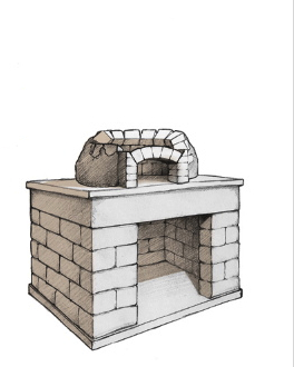wood-fired oven project custom fire brick core