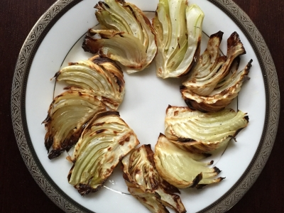 Roasting fennel in wood-burning oven for beautiful texture and flavor