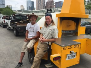 Jeff (of Jack Allen's Kitchen) and Dave relax before setting up for the Fire Pit at this year's Austin Food + Wine Festival. Mobile Wood-burning oven.