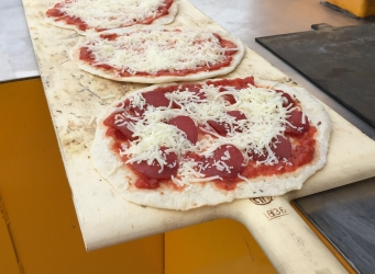 foolproof pizza on long peel wood-fired oven pizza oven