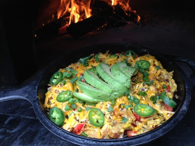 Wood-fired breakfast wood burning oven migas