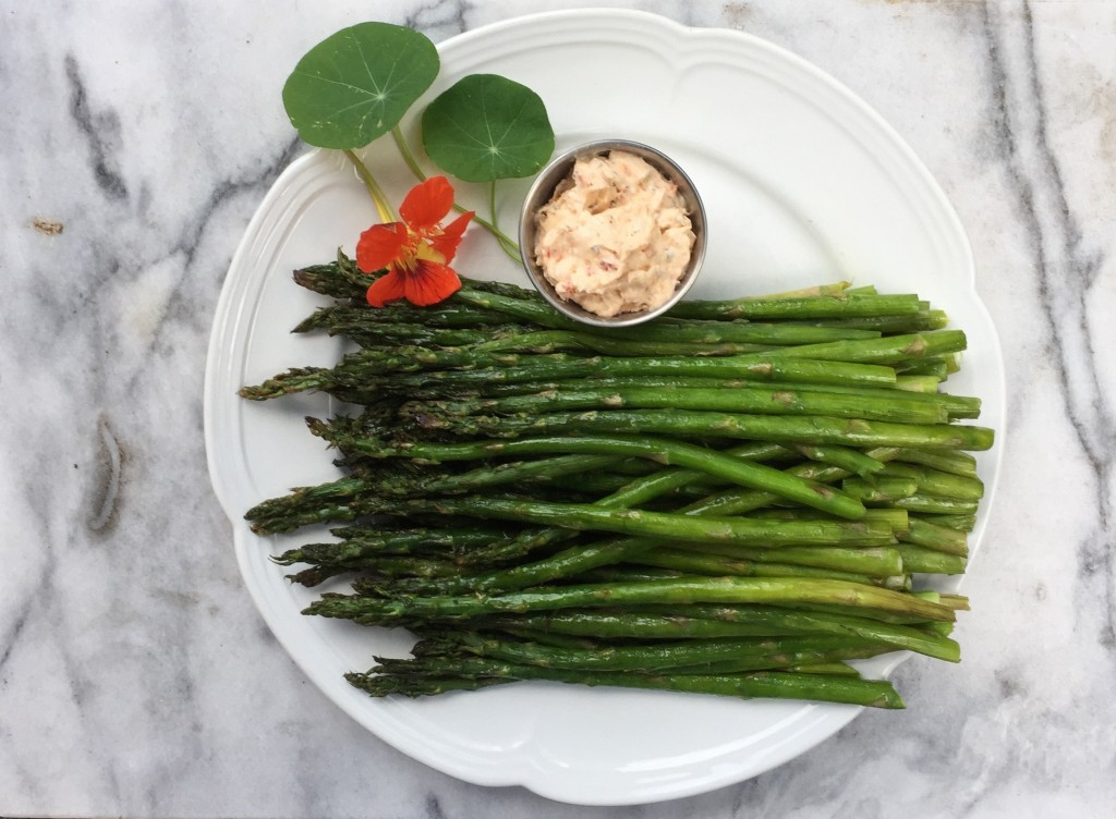 wood-fired asparagus with herbed cream cheese