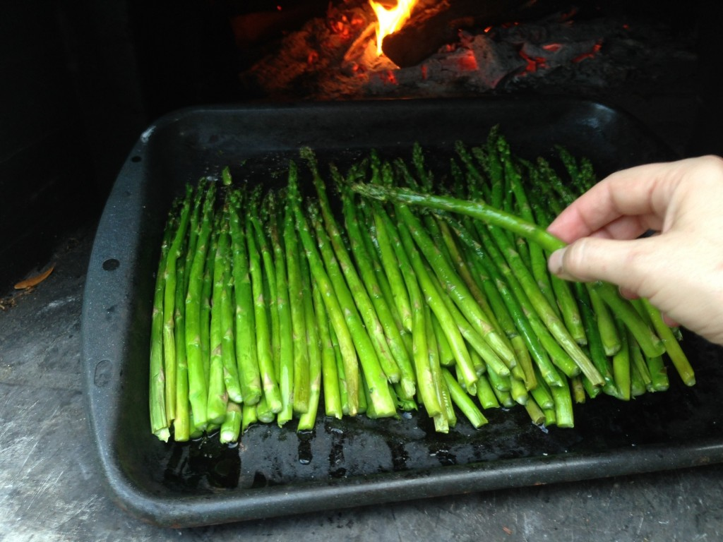 wood-fired asparagus perfectly cooked in pizza oven wood-burning oven