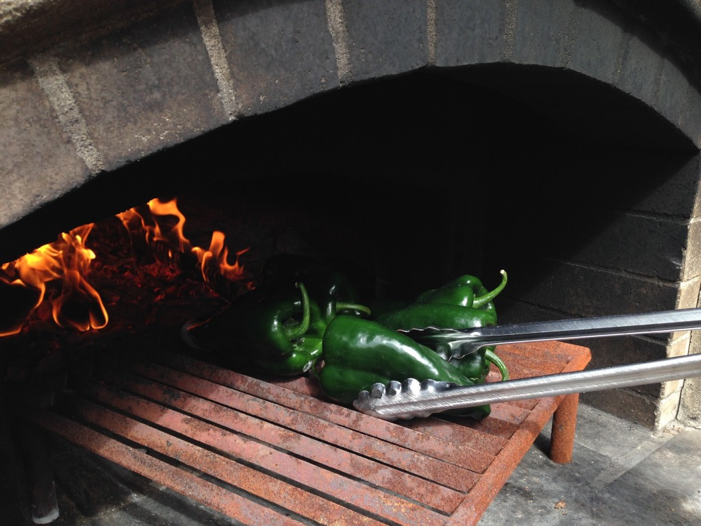 wood-fired poblanos on the grill wood-fired oven