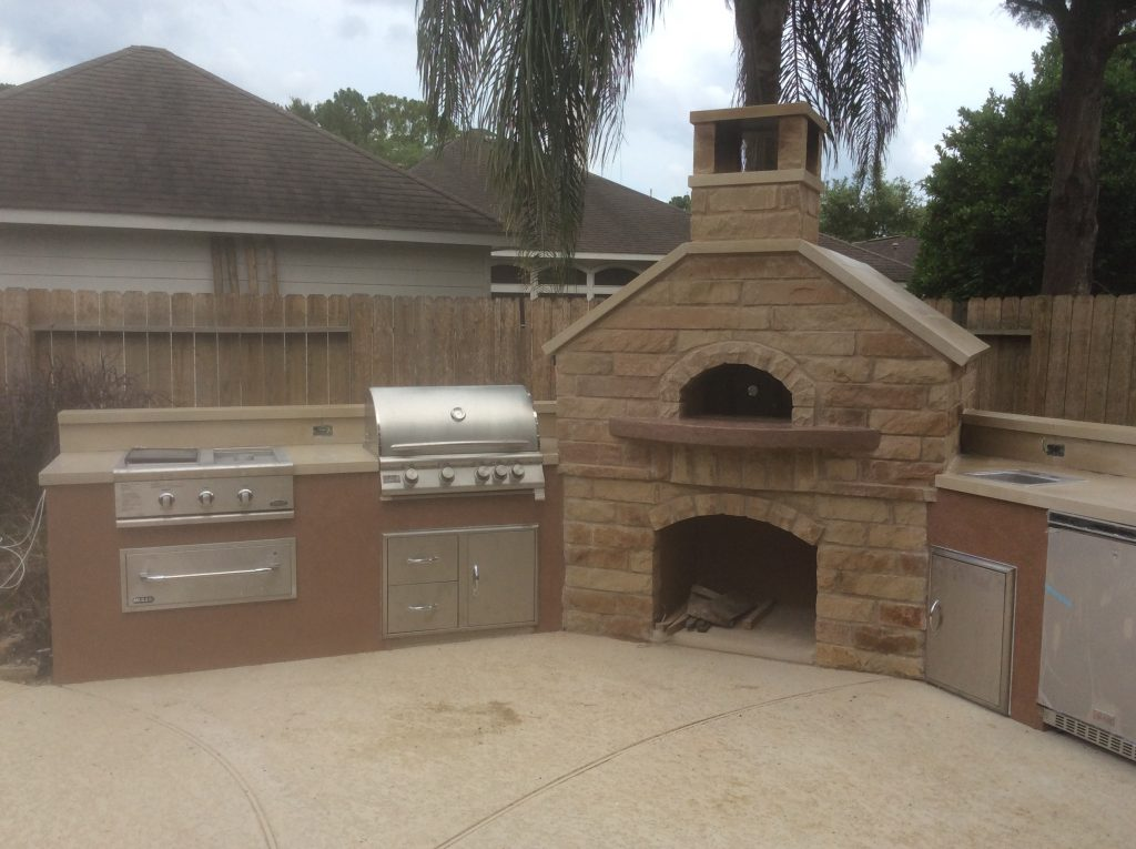 an oven core is surrounded by base cabinetry, wood burning oven core pizza oven core